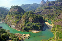Canyon en montagne de Wuyishan, province de Fujian, Chine Images stock