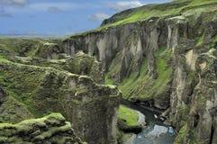 Canyon Fjadrargljufur, Iceland. Deep canyon and river Fjadrargljufur, Iceland Royalty Free Stock Photo