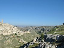The Canyon in front of Matera in Italy Stock Photography