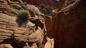Canyon have widened until the land is sculpted into tableland and isolated pinnacles, Utah, USA stock image