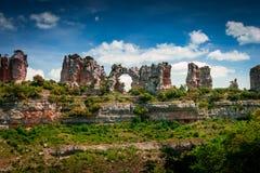 Canyon il fiume Ebro Orbaneja del Castillo fotografie stock libere da diritti