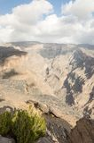 Canyon in Jabal Shams. Oman showing many layers of geotectonical and erosion powers Stock Images