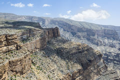Canyon Jebel Shams. Image of canyon on mountain Jebel Shams in Oman royalty free stock image