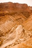 Canyon in Judaean Desert near Masada in Israel. Royalty Free Stock Photos