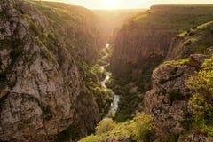 Canyon in Kazakhstan. Aksu River Canyon, Aksu-Jabagly natural reserve in Alatau mountains, Central Asia, Kazakhstan Stock Images