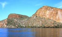 Canyon Lake. Geology, sky and clouds at Canyon Lake, Phoenix, Arizona Royalty Free Stock Image