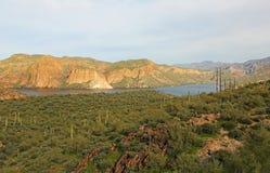 Landscape with Canyon Lake. Canyon Lake from Apache Trail, Arizona royalty free stock photo