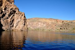 Canyon Lake, Arizona. View of one of many rock formations around Canyon Lake, part of Tonto National Forest in Arizona royalty free stock photography