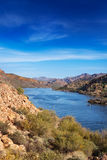 Canyon Lake Arizona. View of Canyon Lake from the Apache Trail looking down to the marina and mountains beyond Royalty Free Stock Photos