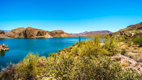 Canyon Lake and the Desert Landscape of Tonto National Forest. Along the Apache Trail in Arizona, USA Royalty Free Stock Image