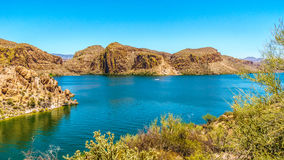Canyon Lake and the Desert Landscape of Tonto National Forest. Along the Apache Trail in Arizona, USA Stock Images