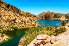 Canyon Lake and the Desert Landscape of Tonto National Forest. Along the Apache Trail in Arizona, USA Royalty Free Stock Photos