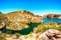 Canyon Lake and the Desert Landscape of Tonto National Forest. Along the Apache Trail in Arizona, USA Stock Image
