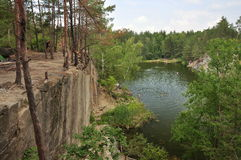 Canyon, lake, forest and rocky shores. A view of the canyon, lake, forest and rocky shores Stock Images