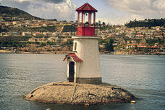 Canyon Lake Light House. On the Main Lake sits the iconic light house in Canyon Lake with the water level showing to be very low Royalty Free Stock Photo