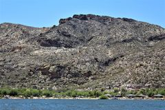 Canyon Lake, Maricopa County, Arizona, United States. Canyon Lake reservoir located in Maricopa County, Arizona United States during the Spring Stock Photography