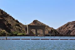 Canyon Lake, Maricopa County, Arizona, United States. Canyon Lake water gateway located in Maricopa County, Arizona United States during the Spring Stock Photo