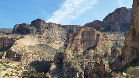 Canyon Lake Mountains. Beautiful mountain walls near Canyon Lake, Arizona royalty free stock photos