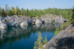Canyon and lake in situ mining of marble mines. Ruskeala, Karelia Royalty Free Stock Photos