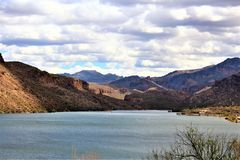 Canyon Lake, State of Arizona, United States. Scenic landscape view of Canyon Lake, located in Maricopa County Arizona, in the United States Royalty Free Stock Images