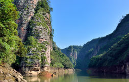 Canyon landforms in DaJin Lake, Fujian, China. DaJin Lake, as featured physiognomy locate in Taining, Fujian province, South of China Royalty Free Stock Photography