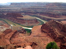 Canyon lands, Utah. This photo was taken in Utah, at Dead Horse Point, overlooking deep canyons and phosphate mines Stock Photos