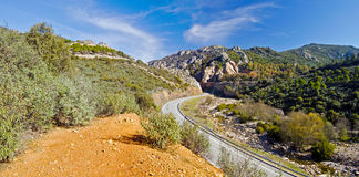 Canyon landscape in Despenaperros national park in Northern Anda. Road crossing Sierra Morrena Mountains of Despenaperros Natural Park, following the river Royalty Free Stock Images