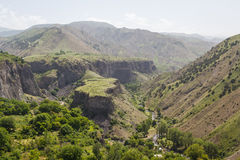Canyon landscape view around Garni temple. Armenia Stock Photos