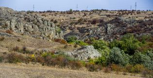 A canyon landscape. Wide view of Aktovskiy Canyon, Nikolaev region, Ukraine Stock Photos