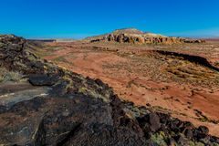 Canyon with Lava Rock and River Channel in New Mexico. Unusual Canyon with Interesting Mountain and Black Lava Rock on the Cliffs in New Mexico Stock Images
