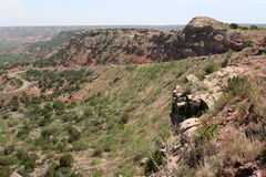 Canyon Ledge. Roadway to the bottom of the Palo Duro Canyon in Texas Royalty Free Stock Photography