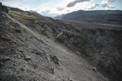 Canyon after the massive earthquake. With rockfall stock photos