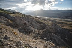 Canyon after the massive earthquake. With rockfall royalty free stock photography