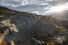 Canyon after the massive earthquake. With rockfall stock image