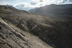 Canyon after the massive earthquake. With rockfall stock images