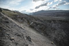 Canyon after the massive earthquake. With rockfall stock photography