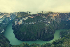 Canyon in Mexico. View from above the Sumidero Canyon in Chiapas, Mexico stock photo