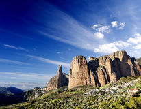 Canyon and mountains dreamscape. Idyllic landscape,canyon and mountains dreamscape at Spain,Riglos Stock Image