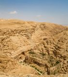 Judaean Desert in the Holy Land, Israel. Canyon near the monastery of Saint George of Choziba in Judaean Desert in the Holy Land, Israel Stock Image