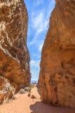 Canyon nel deserto di Wadi Rum Fotografia Stock Libera da Diritti