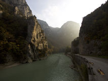 Canyon with nice light in Europe. Nice Italian canyon with an old street Stock Image