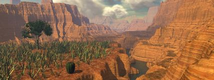 Canyon Panorama. 3D Rendered Canyon View Royalty Free Illustration