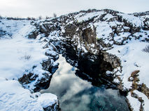 Canyon pendant l'hiver, parc national de Thingvellir, Islande photos stock