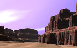 Canyon With Purple Sky Royalty Free Stock Photography