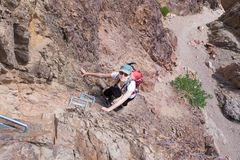 Canyon rampicante della donna Fotografia Stock