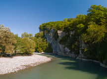 Canyon River. Mzymta River(Caucasus mountains, Russia) in Dzykhra Gorge. This place near Krasnaya Poluana ski resort (capital of the winter 2014 olimpyc events stock image