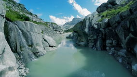 Canyon river bank aerial view mountain nature landscape stock footage