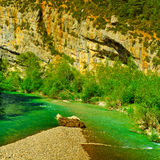 Canyon. River on the Bottom of Canyon in the French Alps Royalty Free Stock Images