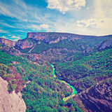 Canyon. River on the Bottom of Canyon in the French Alps, Instagram Effect Stock Photo