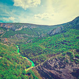 Canyon. River on the Bottom of Canyon in the French Alps, Instagram Effect Stock Image